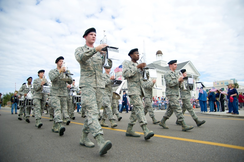 Members of Keesler Air Force Base Drum and Bugle Corps march in the 12th annual Gulf Coast Veteran's Parade Nov. 10, 2012, in Gulfport, Miss.  Other marching units included the honor guard, the 50 state flags carried by the 334th Training Squadron, student marching groups from the 335th and 336th Training Squadrons and the 81st Training Group's drum and bugle corps. (U.S. Air Force photo by Adam Bond)