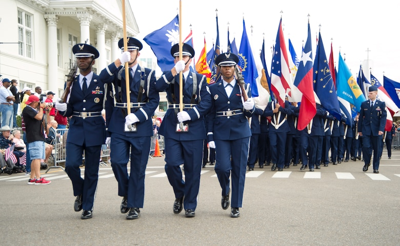 Airmen from Keesler Air Force Base, Miss., march in the 12th annual Gulf Coast Veteran's Parade Nov. 10, 2012, in Gulfport.   Keesler marching units included the honor guard, the 50 state flags carried by the 334th Training Squadron, student marching groups from the 335th and 336th Training Squadrons and the 81st Training Group's drum and bugle corps.  (U.S. Air Force photo by Adam Bond)