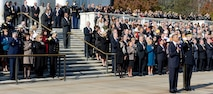 Air Force Chief of Staff Gen. Mark A. Welsh III and his wife, Betty, attend a wreath-laying ceremony by President Barack Obama at the Tomb of the Unknowns in Arlington National Cemetery in observance of Veterans Day, Nov. 11, 2012.  (U.S. Air Force photo/Scott M. Ash)
