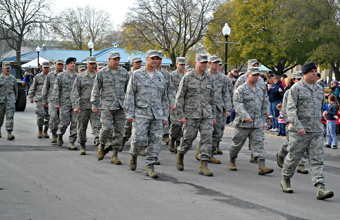 Airmen from Hancock Field Air National Guard Base, Syracuse, New York march in formation during a Veterans Day cermony held on November 10, 2012 at the New York State Fairgrounds. The group was led by Maj. Patrick Cox, 274th Air Support Operations Squadron Commander. The 174th Attack Wing also manned an informational booth at the Veterans Expo, also held at the Fairgrounds. (New York Air National Guard photo by Lt. Col. Catherine Hutson/Released).