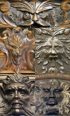 The Green Man is popular on country oak furniture. His look varies depending on the craftsman's interpretation and skill level. These five examples are Green Men on Victorian furniture each one done by a different craftsman. (U.S. Air Force photo illustration by Capt. Jason Smith/Released)