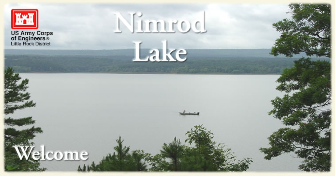 View of fisherman on Nimrod Lake from Highway 60.
