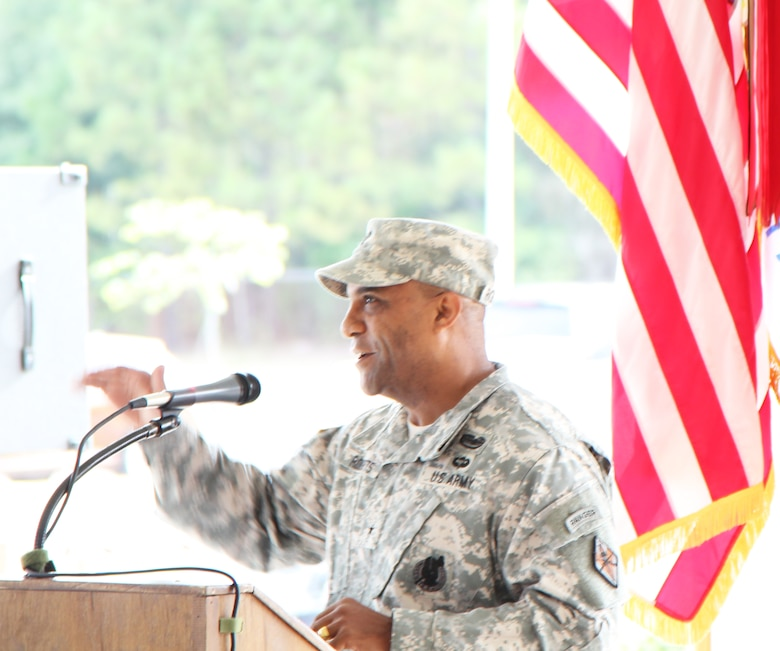 Brig. Gen. Bryan Roberts, Fort Jackson commander, speaks at the ribbon cutting for the Quad DFAC.