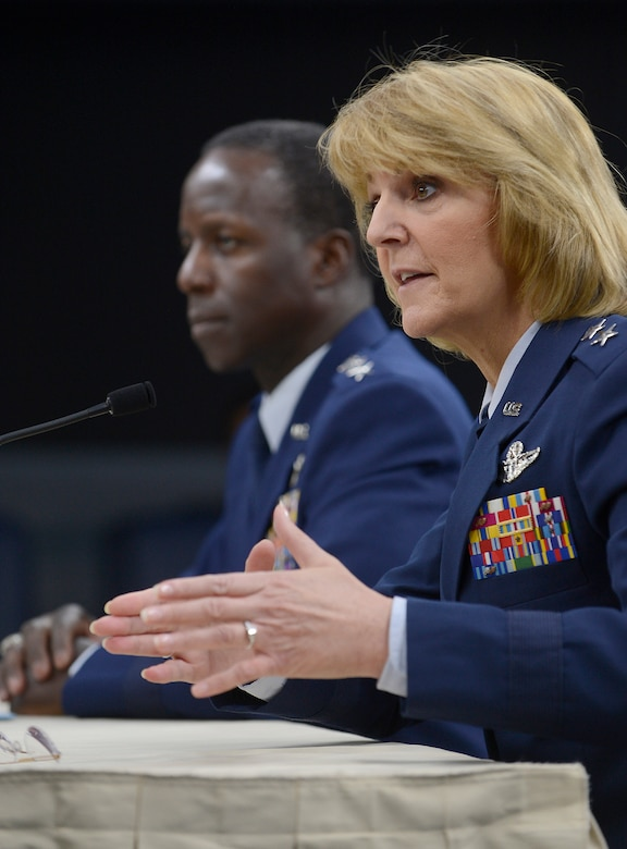 Maj. Gen. Margaret Woodward, Air Force Chief of Safety and commander of Air Force Safety Center at Kirtland Air Force Base, N.M., answers questions with Gen. Edward Rice Jr., commander of Air Education and Training Command, during a Pentagon press briefing on Nov. 14, 2012.  Rice presented the findings relating to Woodward's investigation into allegations of sexual misconduct at Basic Military Training.  (U.S. Air Force photo/Scott M. Ash)