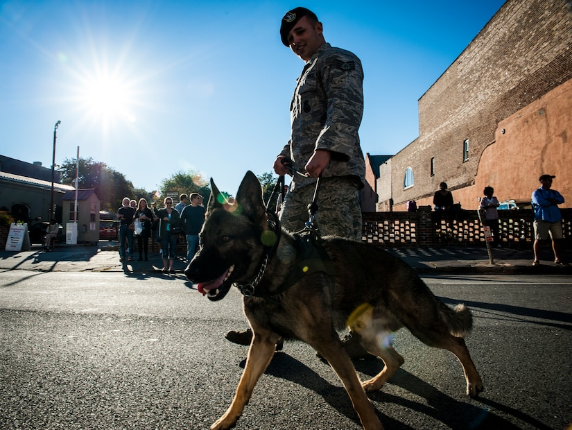 Staff Sgt. Jonathan Garrett, 628th Security Forces Squadron K-9 handler, walks with his military working dog, Chico, during a Veterans Day Parade Nov. 10, 2012, in Charleston, S.C. More than a hundred Airmen and Sailors from Joint Base Charleston marched in the parade, which traveled through the streets of historic downtown Charleston. (U.S. Air Force photo/ Senior Airman Dennis Sloan)