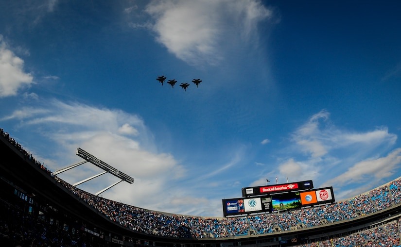 The Louisiana Air National Guard 159th Fighter Wing conducts a four-aircraft flyover before the Carolina Panthers - Denver Broncos football game Nov. 11, 2012, at the Bank of America Stadium in Charlotte, N.C. (U.S. Air Force photo/Staff Sgt. Anthony Hyatt)