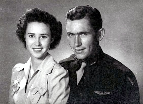 Peggy S. Harris and 1st Lt. Billie D. Harris were married for just six weeks before 1st Lt. Harris deployed in World War II. Harris was flying a mission over Nazi-occupied France when his plane was shot down and crashed into the woods near a small town in Normandy. He never returned home. Peggy was on a 60-year journey to find answers to her husband's whereabouts.   (Courtesy photo)