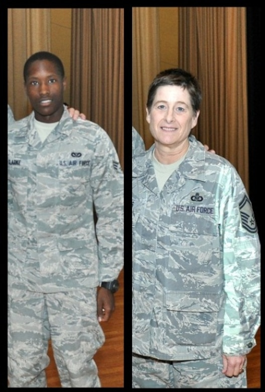Senior Airman Krystopher Clarke (Left) of the 507th Civil Engineer Squadron and Senior Master Sgt. Carol Suggs of the 465th Air Refueling Squadron both perfected their physical fitness test.