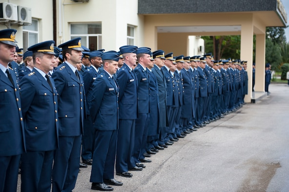Turkish and U.S. Air Force members stand at parade rest during the Ataturk Memorial Day Ceremony Nov. 10, 2012, at Incirlik Air Base, Turkey. Turkish and U.S. Airmen gathered to honor Mustafa Kemal Ataturk, the founder and first president of modern Turkey, on the 74th anniversary of his death. (U.S. Air Force photo by Senior Airman Clayton Lenhardt/Released)