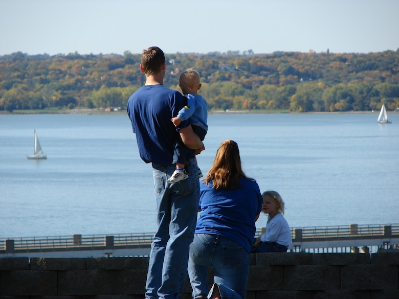 A family enjoying the view of Lewis and Clark Lake, Gavins Point Project, from the Lewis and Clark Visitor Center