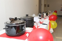 The 2012 Aviation Chili Cook-off entries are lined up before the judging.