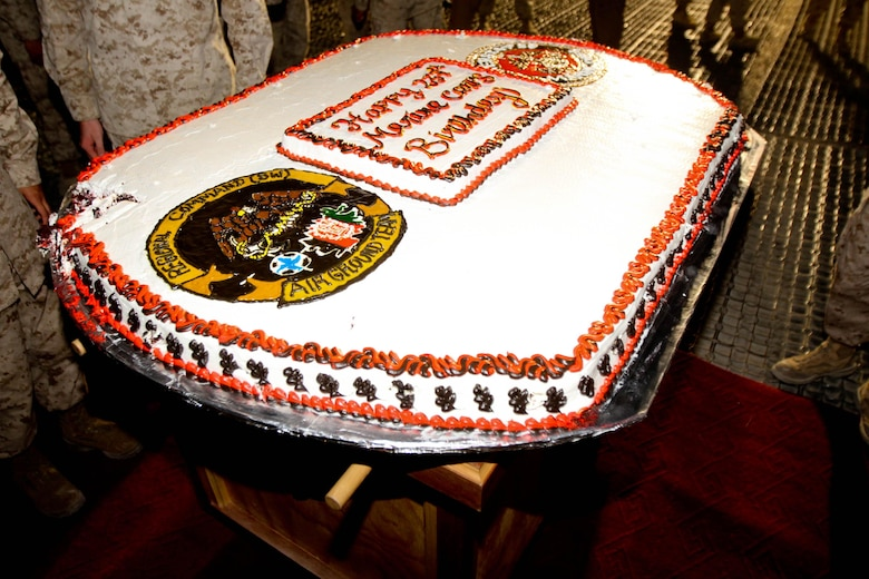 Marines celebrated the 237rd Marine Corps Birthday with a traditional cake cutting ceremony aboard Camp Leatherneck, Afghanistan, Nov. 10, 2012.