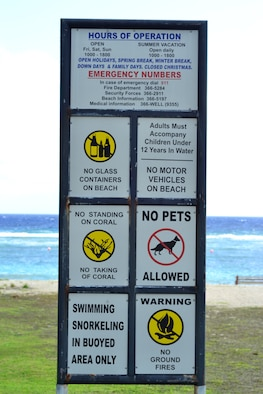 ANDERSEN AIR FORCE BASE, Guam - Signs are located at the entrance of Tarague