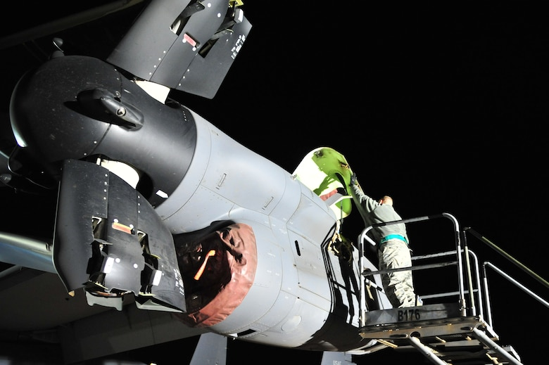 U.S. Air Force Staff Sgt. Gerald Heckwine, 727th Special Operations Aircraft Maintenance Squadron, prepares to clean components of a CV-22 Osprey on the flightline at Cannon Air Force Base, N.M., Nov. 2, 2012. The $80 million aircraft relies on routine austere inspections and preventative maintenance for proper functionality as well as Air Force Special Operations Command compliance. (U.S. Air Force photo/Airman 1st Class Alexxis Pons Abascal)