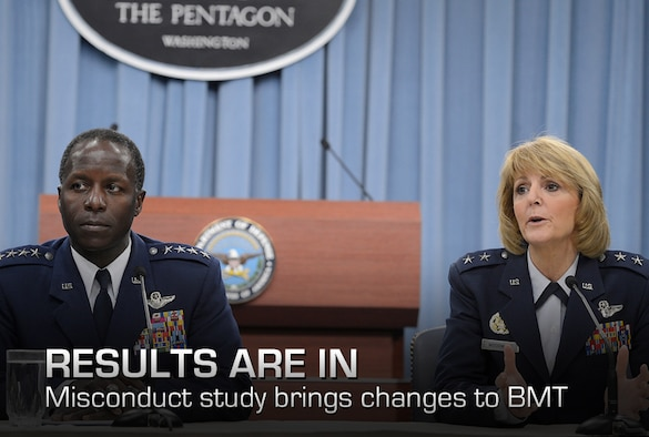 Gen. Edward Rice Jr., commander of Air Education and Training Command, answers questions with Maj. Gen. Margaret Woodward, Air Force Chief of Safety and commander of Air Force Safety Center at Kirtland Air Force Base, N.M., during a Pentagon press briefing on Nov. 14, 2012. Rice presented the findings relating to Woodward's investigation into allegations of sexual misconduct at Basic Military Training. (U.S. Air Force photo/Scott M. Ash)