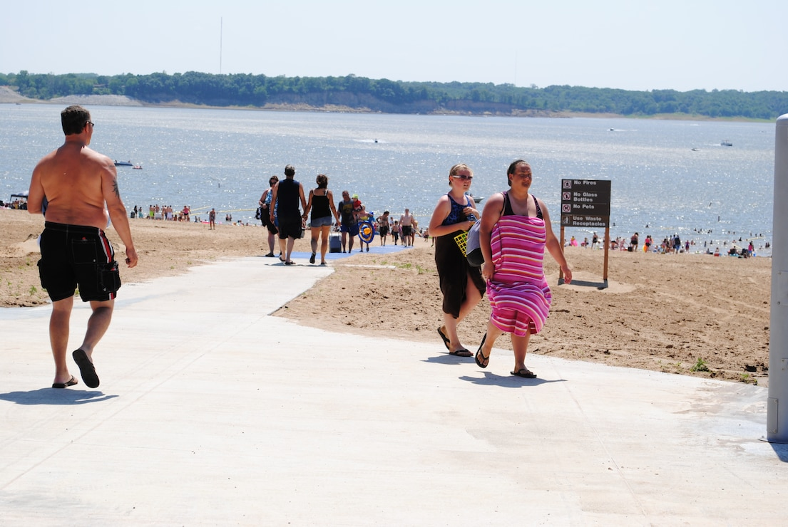 Beach Users along walkway at North Overlook Beach
