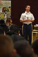 Lt. Col. Braden LeMaster, deputy district engineer for the U.S. Army Corps of Engineers Sacramento District, speaks to students at Hiram W. Johnson High School in Sacramento, Calif., during a science, technology, engineering and mathematics - or STEM - event Nov. 9, 2012. The district hosted the STEM event for 125 students, discussing STEM-related degrees and careers, and providing three fun and team-focused engineering challenges.
