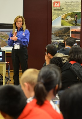 "Linda Finley, deputy for project management for the U.S. Army Corps of Engineers Sacramento District, speaks to students at Hiram W. Johnson High School in Sacramento, Calif., during a science, technology, engineering and mathematics - or STEM - event Nov. 9, 2012. The district hosted the STEM event for 125 students, discussing STEM-related degrees and careers, and providing three fun and team-focused engineering challenges. ""This event is really special,"" said Finley. ""Coming here as a graduate of Johnson High, Class of 1976, to come back to this school and see the tremendous changes, and incredible support for students that have a skill set towards math and science - it's just such a wonderful, warm feeling for me."""