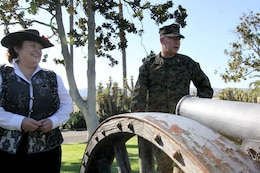 Faye Jonason (left), the history and museums director for Camp Pendleton, gives Maj. Gen. James A. Kessler (left), commanding general of Marine Corps Installations Command and assistant deputy commandant of installations and logistics, a tour of the historical Santa Margarita Ranch House here Nov. 8.