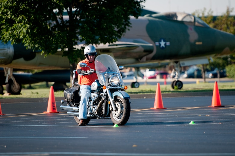 Kentucky Air National Guard Master Sgt. Rollie Hodges, 123rd Civil Engineer Squadron Prime Beef manager, participates in a motorcycle safety train-the-trainer course at the Kentucky Air National Guard Base in Louisville, Ky., on Aug. 22, 2012. The course, part of the Motorcycle Safety Foundation's RiderCoach Program, was designed in part to train student instructors so they can go on to teach motorcycle safety to other service members. (Kentucky Air National Guard photo by Master Sgt. Phil Speck)