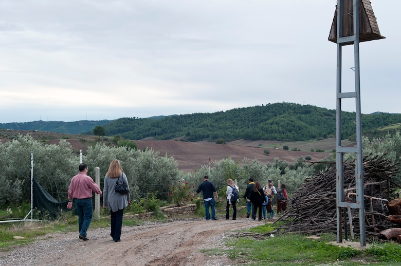 Team Incirlik members wander down the hill after a relaxing afternoon at Ekotepe Organic Farm Nov. 11, 2012, near Adana, Turkey. The Ekotepe restaurant is located about 30 minutes outside of Adana in the foothills. (U.S. Air Force photo by Senior Airman Daniel Phelps/Released)