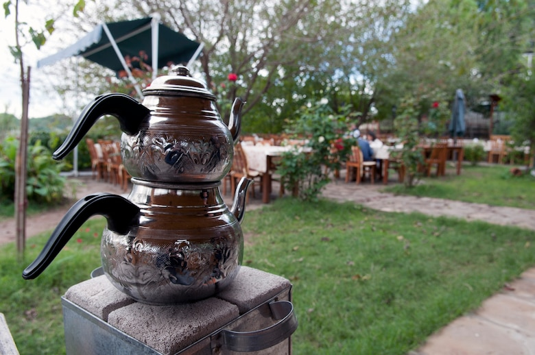 A Turkish tea pot heats for guests at Ekotepe Organic Farm Nov. 11, 2012, near Adana Turkey. Ekotepe offers a traditional Turkish brunch Saturdays and Sunday and sits in the foothills outside of Adana. (U.S. Air Force photo by Senior Airman Daniel Phelps/Released)
