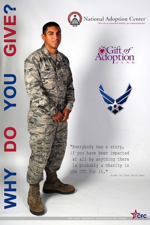 BUCKLEY AIR FORCE BASE, Colo. – Airman 1st Class Carlos Gomez, 460th Civil Engineer Squadron, poses for a Combine Federal Campaign poster Nov. 14, 2012. Gomez donated to the Air Force Association and the Adoption Center. (U.S. Air Force illustration by Airman 1st Class Riley Johnson)