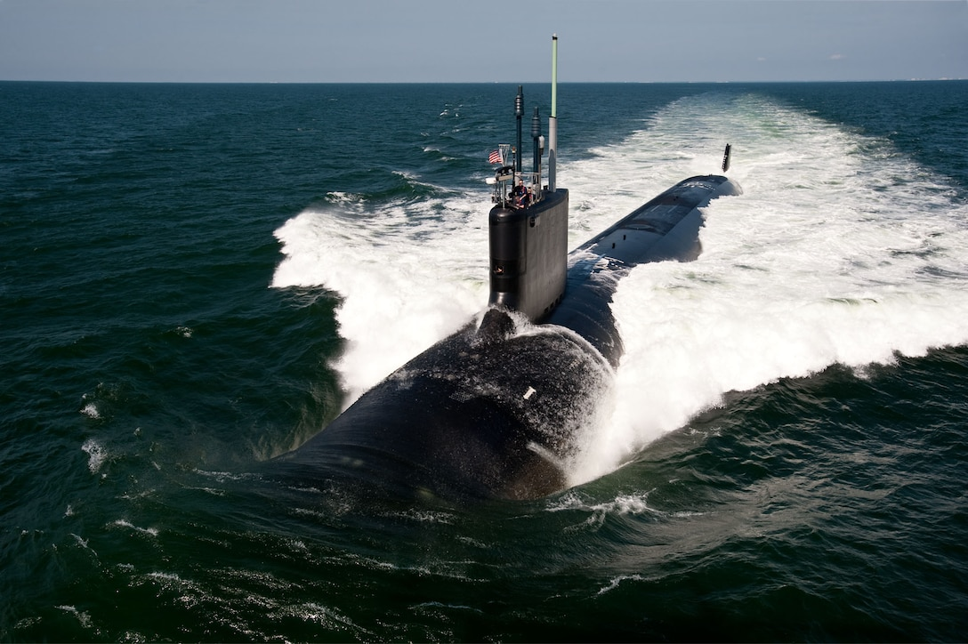 The Virginia-class fast-attack submarine USS California is photographed during sea trials in the Atlantic Ocean, June 30, 2011. The Navy's newest submarine, USS Delaware, will be the same class as the California. U.S. Navy photo by Chris Oxley