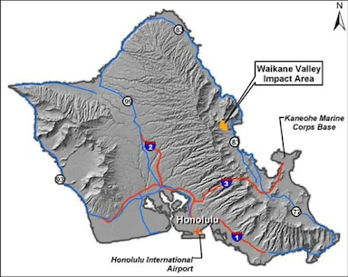 The Waikane Valley Impact Area is a 187 acre site that was used by the Marine Corps for training from 1953 to 1976. It is located within the Waikane Valley Training Area in the Waiahole and Waikane Valleys, on Oahu's windward side (Kaneohe, Hawaii), approximately 10 miles northwest of Kaneohe Bay (see Figure 1). The former Waikane Valley Impact Area is part of the Navy and Marine Corps Munitions Response Program which is designed to assess site conditions and determine if actions are needed to reduce risks from munitions and  explosives of concern (MEC) comprised of unexploded ordnance (UXO), discarded military munitions, and/or munitions constituents (chemical components of munitions) that remain from past training activities.