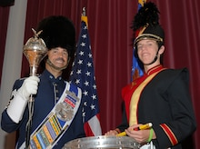 Chief Master Sgt. Ed Teleky, U.S. Air Force Band drum major, and his son Tony, drum line captain at North Point High School in Waldorf, Md., are slated to appear at the 86th Annual Macy's Thanksgiving Day Parade in New York on Nov. 22.  This will be Tony's second appearance with the Macy's All American Marching Band, and the first appearance for both Chief Teleky and the Air Force Band. (U.S. Air Force photo/Staff Sgt. Torey Griffith)