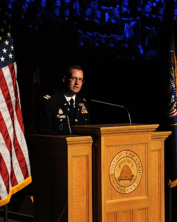 Col. Hank McIntire, the Utah National Guard's state public affairs officer, performs as the Master of Ceremonies during the 57th annual Veterans Day concert at the University of Utah's Jon M. Huntsman Center, on Nov. 10. (U.S. Air Force photo by Senior Airman Lillian Harnden)(RELEASED)