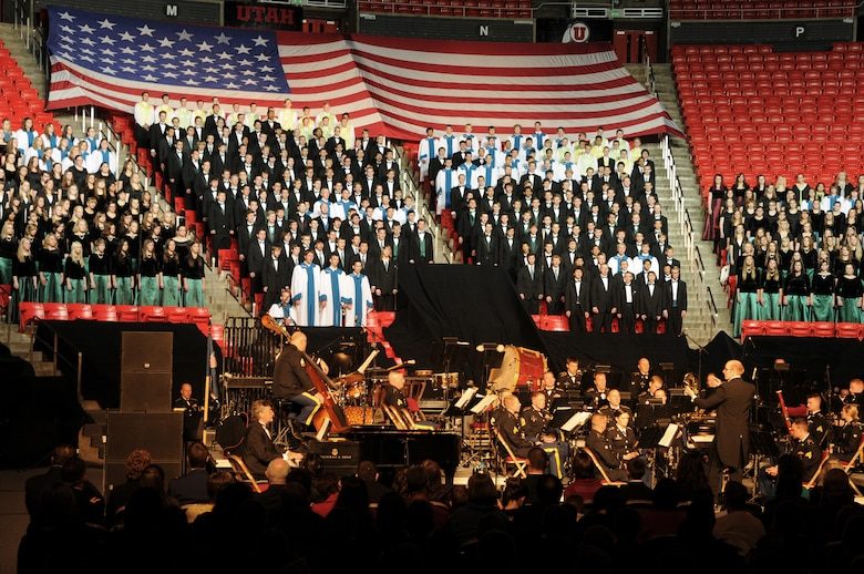 The Utah National Guard's 23rd Army Band and a 600-voice combined choir from Granite School District high schools performs at the Utah National Guard's 57th annual Veterans Day concert at the University of Utah's Jon M. Huntsman Center, Nov. 10. (U.S. Air Force photo by Senior Airman Lillian Harnden)(RELEASED)