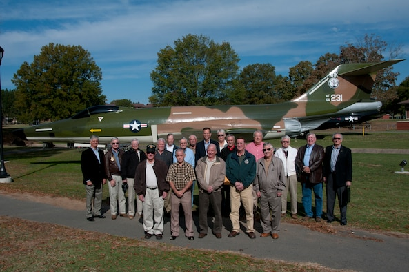 Retired maintainers and pilots that flew and worked on the RF-101 stand