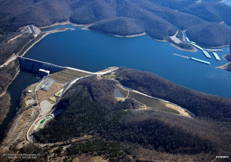 This is an aerial image of Center Hill Lake and Dam, Lancaster, Tenn.(USACE photo)