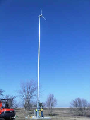 The new wind turbine at Council Grove Lake in Kansas is capable of producing enough energy to power 24 100-watt light bulbs or 6-8 computers.