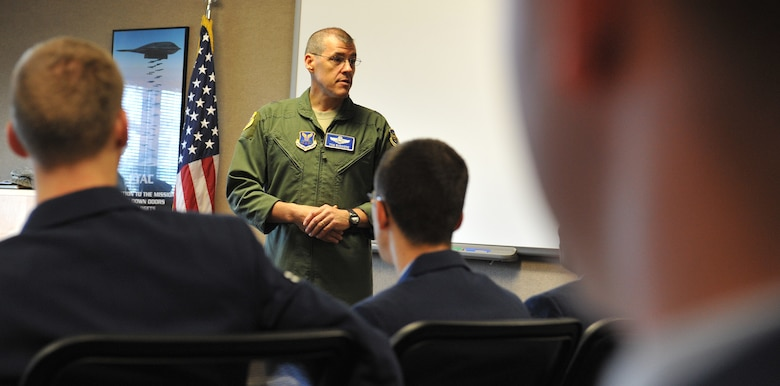 Brig. Gen. Thomas Bussiere, 509th Bomb Wing commander, speaks to First Term Airmen Center students Oct. 29 at Whiteman Air Force Base, Mo. To help ease the transition of technical school to the operational Air Force, new Airmen are required to attend the First Term Airmen Center within their first 30 days of arrival to Whiteman. (U.S. Air Force photo/Heidi Hunt) (Released)