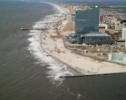 The U.S. Army Corps of Engineers Philadelphia District and the NJDEP completed the first renourishment of the Absecon Island coastal storm damage reduction project in the summer of 2012. The project is designed to reduce storm damages to infrastructure.
