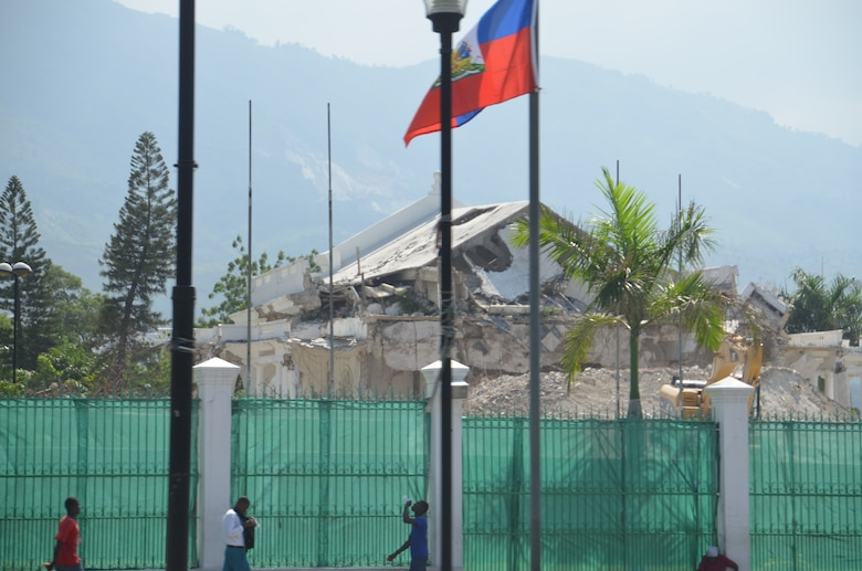 The presidential palace lies in ruins in Port-au-Prince, Haiti, nearly three years after the lethal earthquake – and the relief effort, which the 439th Airlift Wing joined. (U.S. Air Force photo by Lt. Col. James Bishop)