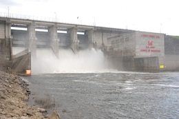 J. Percy Priest Dam releasing water on May 06, 2012, Nashville, Tenn. (USACE photo by Leon Roberts)