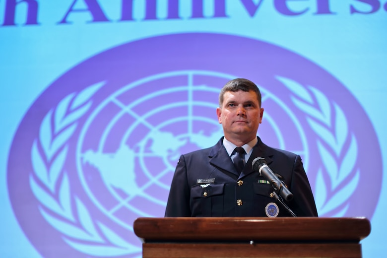 TOKYO, Japan -- Royal Australian Air Force Group Captain Luke Stoodley, United Nations Command (Rear) commander, is ready for speech, during the 67th Anniversary of the United Nations, Nov. 29, 2012 at New Sanno Hotel.  Stoodley assumed command of UNC(R) in Jan. 24, 2012. (U.S. Air Force photo by Osakabe Yasuo)