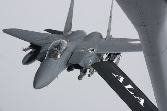 International Security Assistance Force Commander, Gen. John Allen, witnessed an in-flight refueling during an orientation flight in the F-15 E Strike Eagle on Nov. 18, 2011 over Afghanistan. The Stratotanker is deployed to the 22nd Expeditionary Air Refueling Squadron at the Transit Center at Manas, Kyrgyzstan, from the Alabama Air National Guard's 117th Air Refueling Wing. The Strike Eagle is deployed from Seymour Johnson Air Force Base, N.C. (U.S. Air Force photo/Capt. Andrew Hardy)