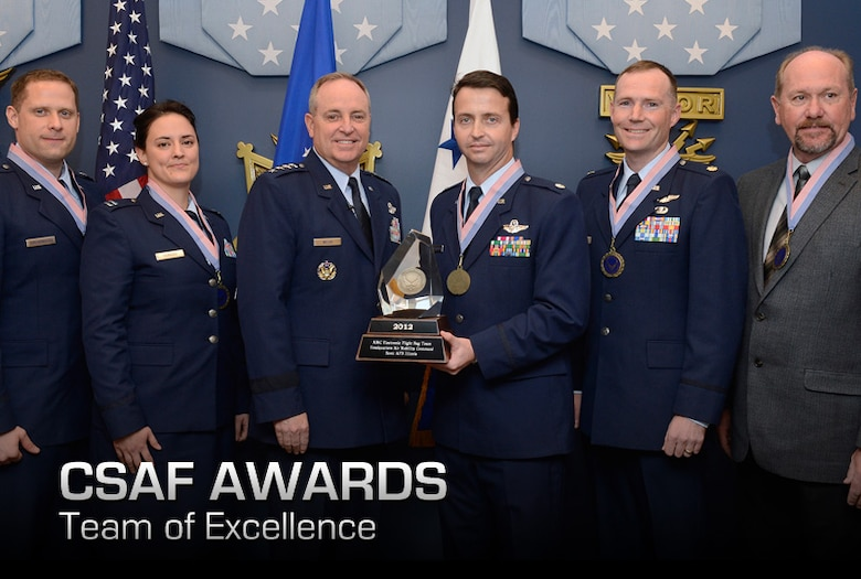 Members of the winning team of the 2012 Chief of Staff Team Excellence Award is the AMC Electronic Flight Bag Team From Scott Air Force Base, Ill., are congratulated by Air Force Chief of Staff Gen. Mark A. Welsh III in a Pentagon ceremony on Nov. 27, 2012.  (U.S. Air Force photo/Scott M. Ash)