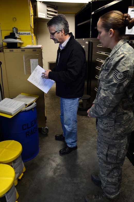 Tech. Sgt. Rose Wingate, with the 169th Maintenance Squadron?s Aerospace Ground Equipment shop at McEntire Joint National Guard Base, S.C., accompanies Mr. Luis Diaz, the environmental inspector from SAIC, during an Environmental, Safety and Occupational Health Compliance Assessment and Management Program (ESOHCAMP) inspection, Nov. 7, 2012. The ESOHCAMP inspection covers all aspects environmental, biological, and safety standards to ensure the base is in compliance with federal, state, local, DODI and AFI regulations.(SCANG photo by Tech. Sgt. Caycee Watson/Released)