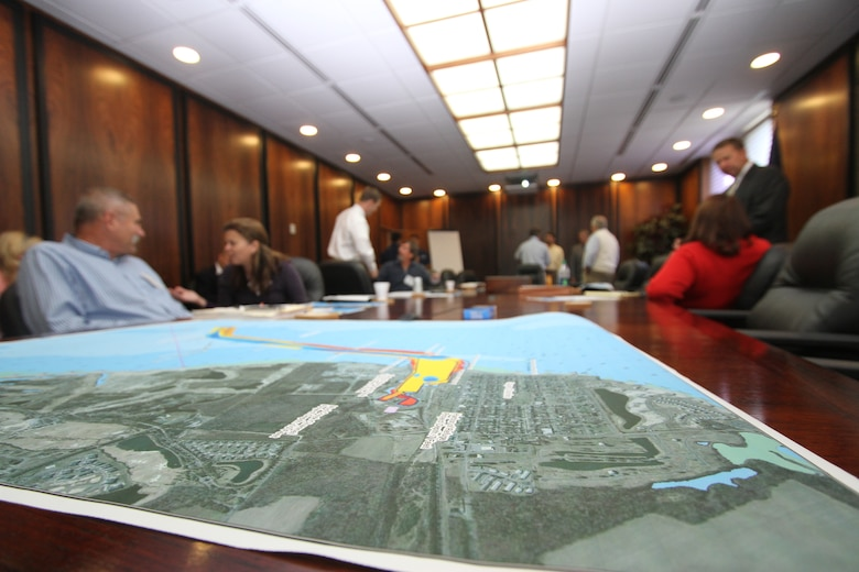 CAPE CHARLES, Va. -- A map of Cape Charles' navigation channel illustrates the current depths as stakeholders gather at a planning charrette Oct. 12, 2012. The town wants to deepen their 18-foot navigation channel and approached the Norfolk District, U.S. Army Corps of Engineers for help.
