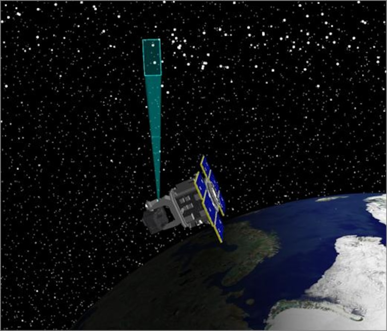 An artist's depiction of the Space Based Space Surveillance satellite tracking space debris. The 18th Space Control Squadron uses data collected from SBSS, and other sensors in the Space Surveillance Network, to track objects orbiting the earth, and provide Space Domain Awareness for space faring nations.