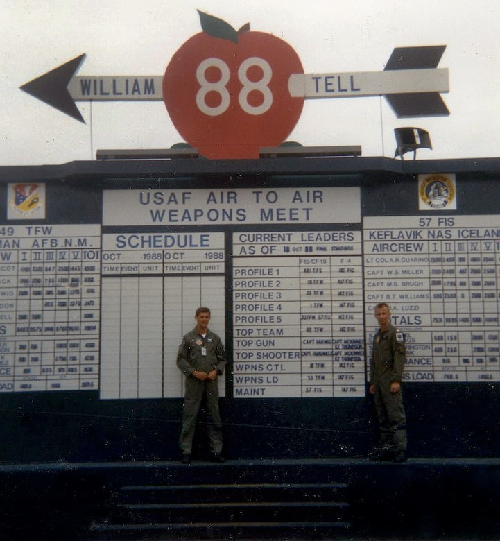 Oregon Air National 1st Lt. Gary Thompson (right) and  Capt. (ret.) Dave McKinney (left) pose in front of the leader board during the 1988 William Tell Weapons Meet at Tyndall AFB, Fla. (photo courtesy of Gary Thompson)