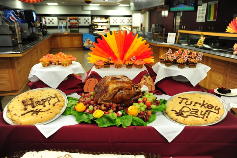 Each year, the Ozark Inn Dining Facility hosts a Thanksgiving Day meal for Airmen and their families. The event helps boosts morale for Airmen working through the holidays and can't make it home to their families. (U.S. Air Force photo/Senior Airman Nick Wilson) (Released)
