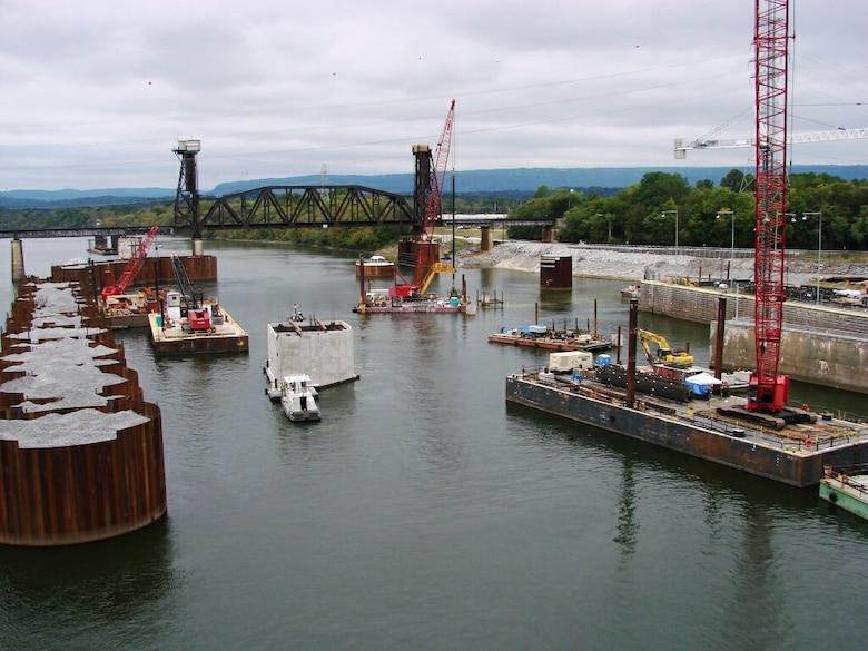 Chickamauga Lock and Dam, Chattanooga, Tenn. undergoing major lock rehabilitation (USACE photo by Lee Roberts)
