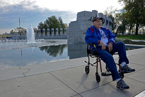 World War II veteran Hobert Yeager rests at the WWII memorial during an Honor Flight trip to Washington, D.C., Nov. 10, 2012. Yeager was drafted in 1943 and served in the Pacific Theater where he fought battles on Leyte Island with the 21st Infantry Regiment which counted 2,133 enemy kills and 14 captured prisoners (42% of the division total). He received two purple hearts from wounds incurred during the battles and was sent to help occupied Japan in late 1945. (U.S. Air Force photo by SrA. Kelly Galloway)