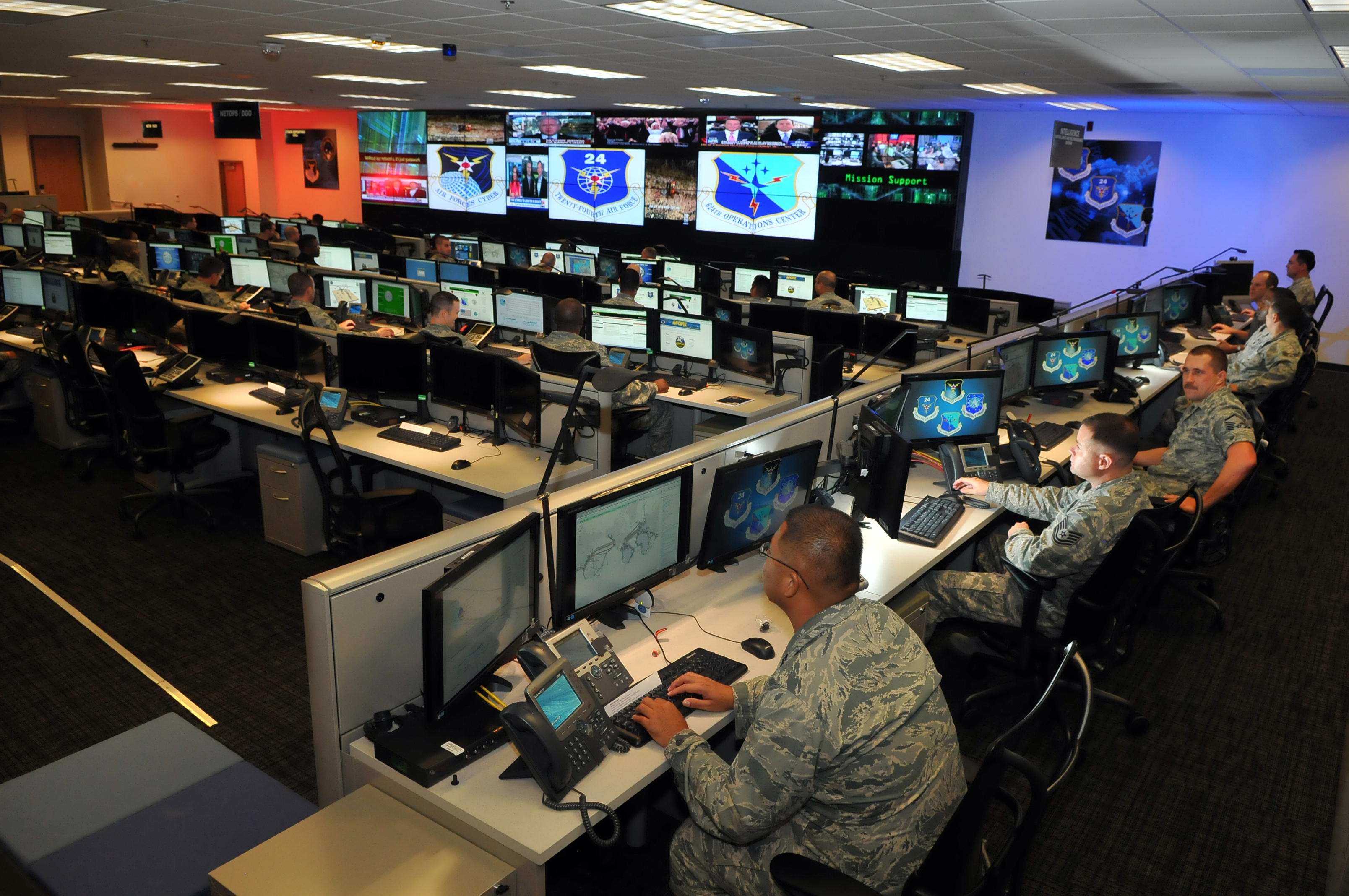 Personnel of the 624th Operations Center, located at Joint Base San Antonio - Lackland, conduct cyber operations in support of the command and control of Air Force network operations and the joint requirements of Air Forces Cyber, the Air Force component of U.S. Cyber Command. The 624th OC is the operational arm of the 24th Air Force, and benefits from lessons learned during exercises such as Cyber Flag 13-1. (U.S. Air Force photo by William Belcher)